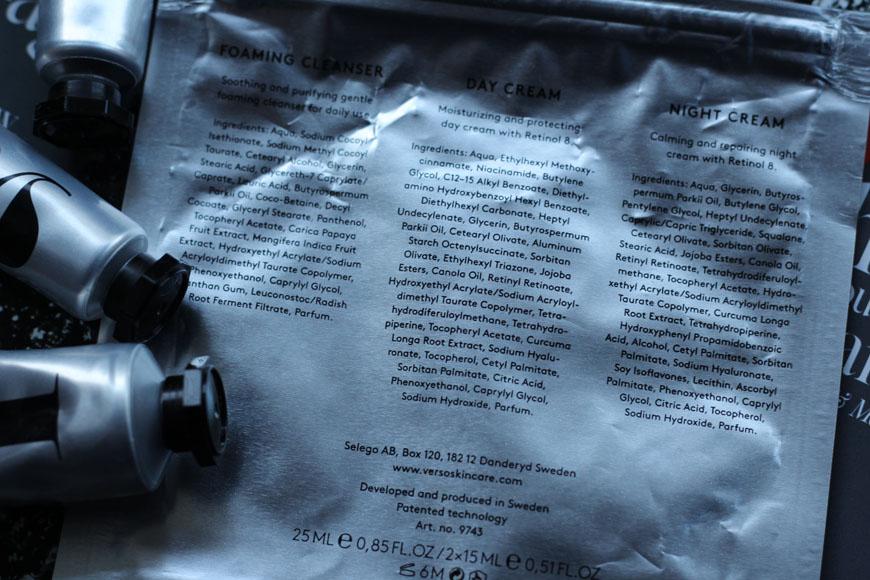 Ingrédients contenus dans les produits de Verso Skincare
