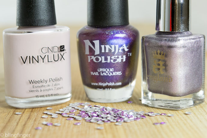 Field Fox CND Vinylux, A-England Princess Tears and Ninja Polish Passion Shift nail polishes