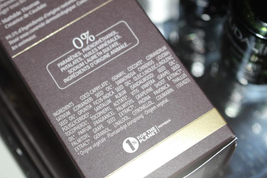 Ingrédients de l'amplificateur de jeunesse Premier Cru L'Elixir de Caudalie