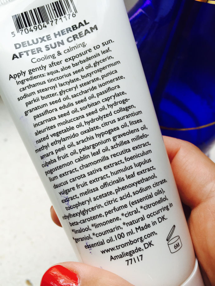 Ingredients of Deluxe Herbal After Sun Cream by Tromborg