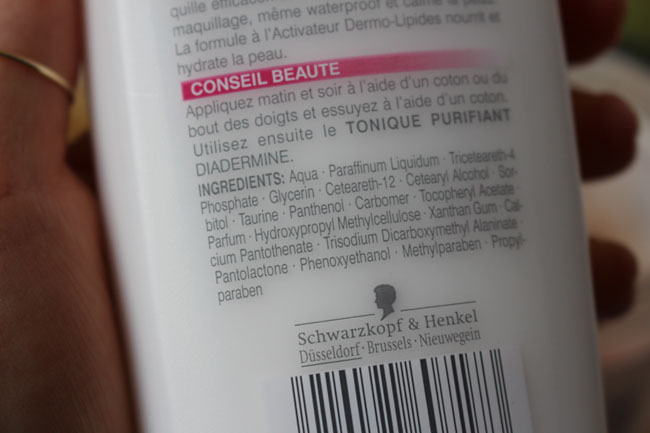 Ingredients of Lait Démaquillant Hydratant by Diadermine