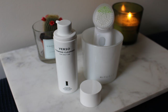 Verso Foaming Cleanser and Clinique Sonic Cleansing System Purifying Brush