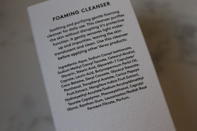 Verso Foaming Cleanser Ingredients