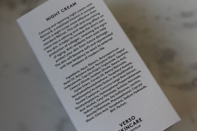 Verso Night Cream Ingredients