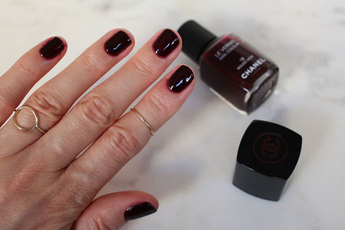 Chanel Le Vernis Nail Colour in 18 Rouge Noir - Dark Purpled Berry with Cream Finish