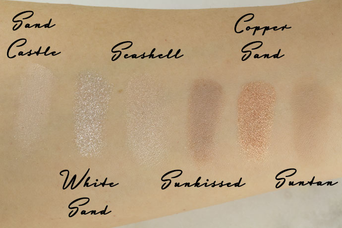 Sand Castle / White Sand / Seashell / Sunkissed / Copper Sand / Suntan Swatches