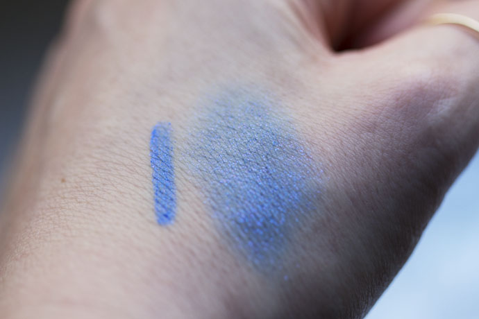 Sample on the skin of Stylo Yeux Waterproof in 924 Fervent Blue by Chanel