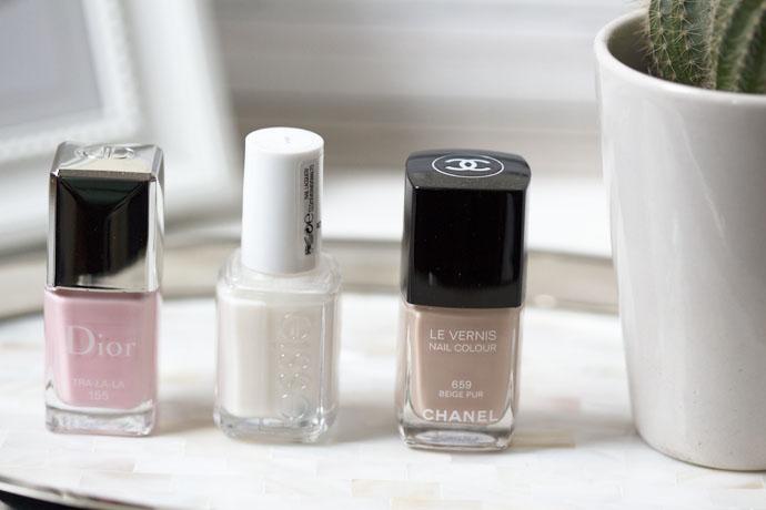 Chanel Le Vernis Nail Colour 659 Beige Pur, Dior Tra-La-La 155 and Essie Allure Nail Polishes