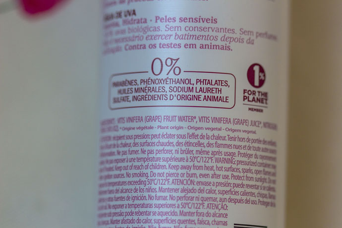 Caudalie Vinosource Grape Water Ingredients