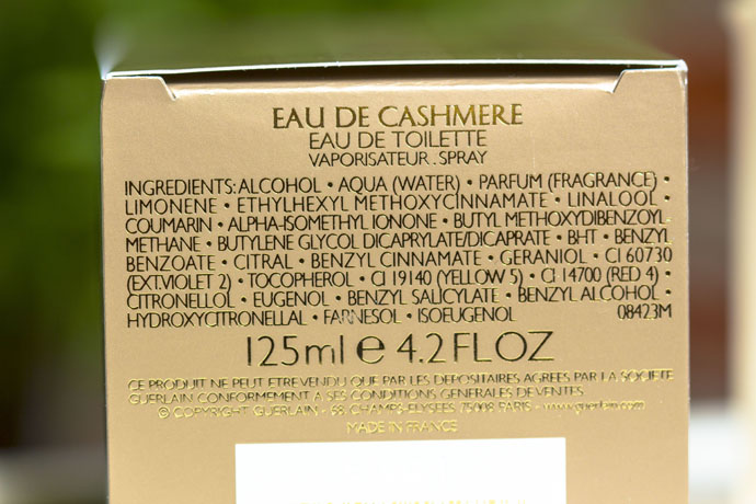 Guerlain | Eau de Cashmere (ingredients list)