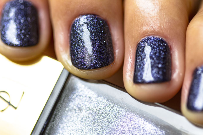 YSL | La Laque Couture in Night Escape (swatch detail with top coat)