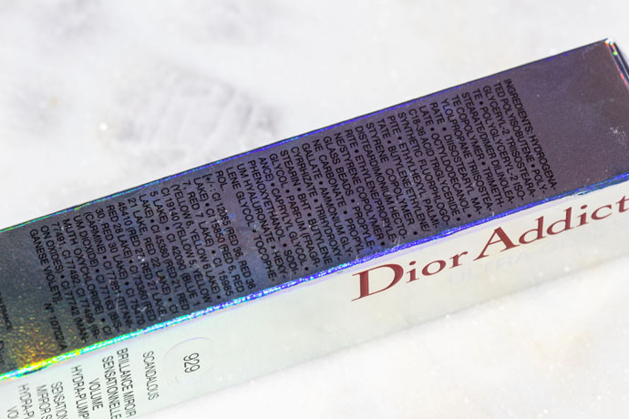 Dior | Dior Addict Ultra Gloss Fall 2016 in 929 Scandalous (ingredients list)