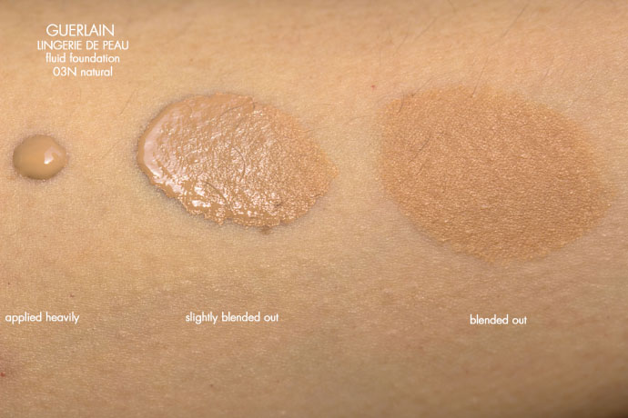 Guerlain | Lingerie De Peau Natural Perfection Skin-Fusion Texture SPF 20 in 03N natural (swatches)