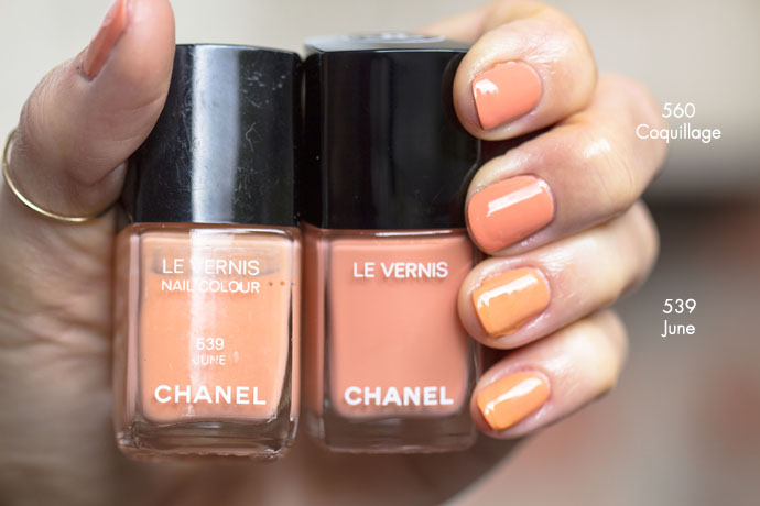 Chanel | Collection Cruise 2017 Le Vernis Longue Tenue in 560 Coquillage vs. Le Vernis 539 June