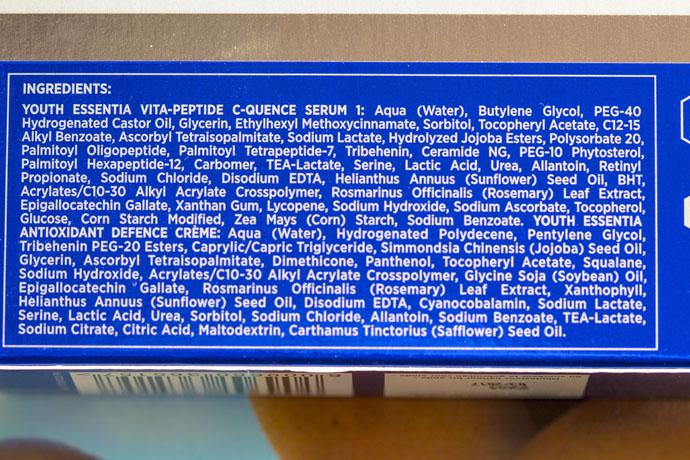 Environ   Youth EssentiA Vita-Peptide C-Quence Serum 1 & Antioxidant Defence Crème (ingredients list)