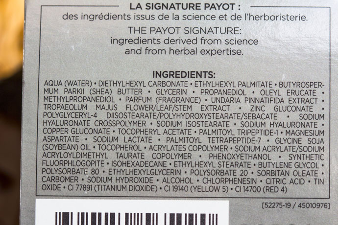 PAYOT Paris | Perform Lift Vitality (ingredients list)