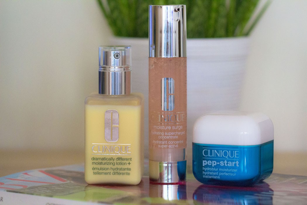Clinique | Moisture Surge Hydrating Concentrate, Pep-Start Hydroblur Moisturizer & Dramatically Different Moisturizing Lotion +
